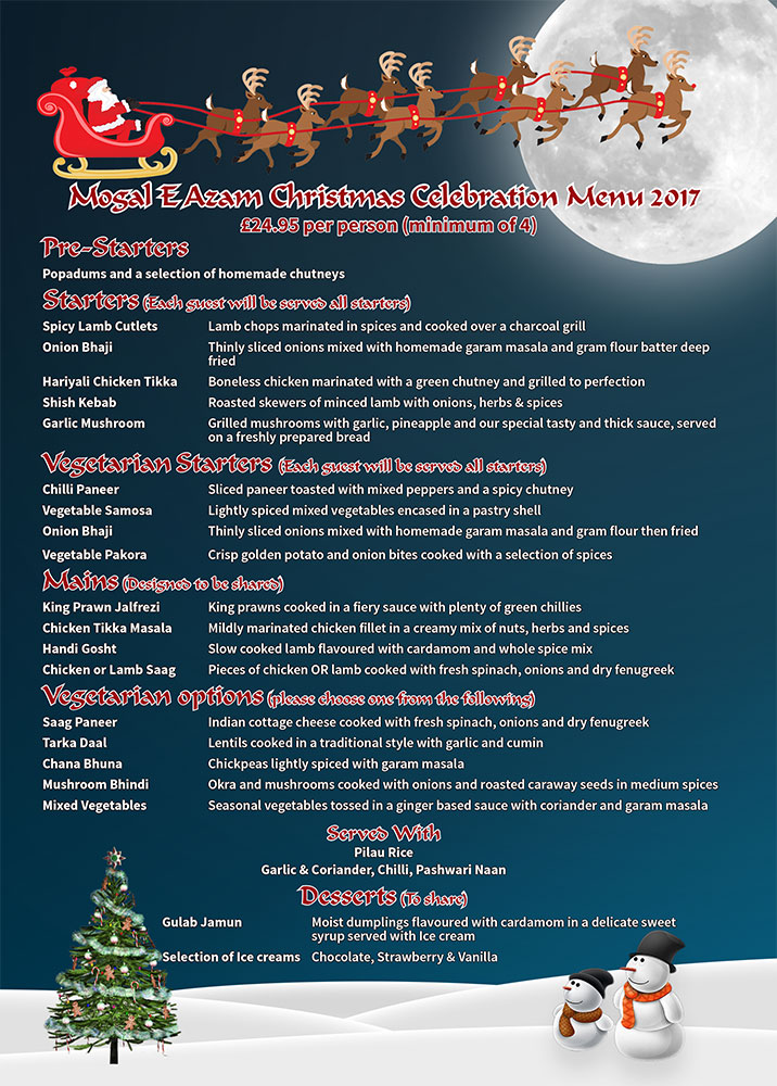 Mogal Christmas Menu